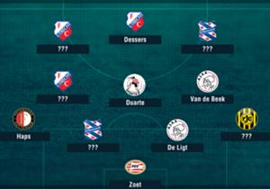 Speelronde 12 van de Eredivisie-jaargang 2017/18 is gespeeld. Welke elf spelers blonken er, op basis van data van Opta, uit?