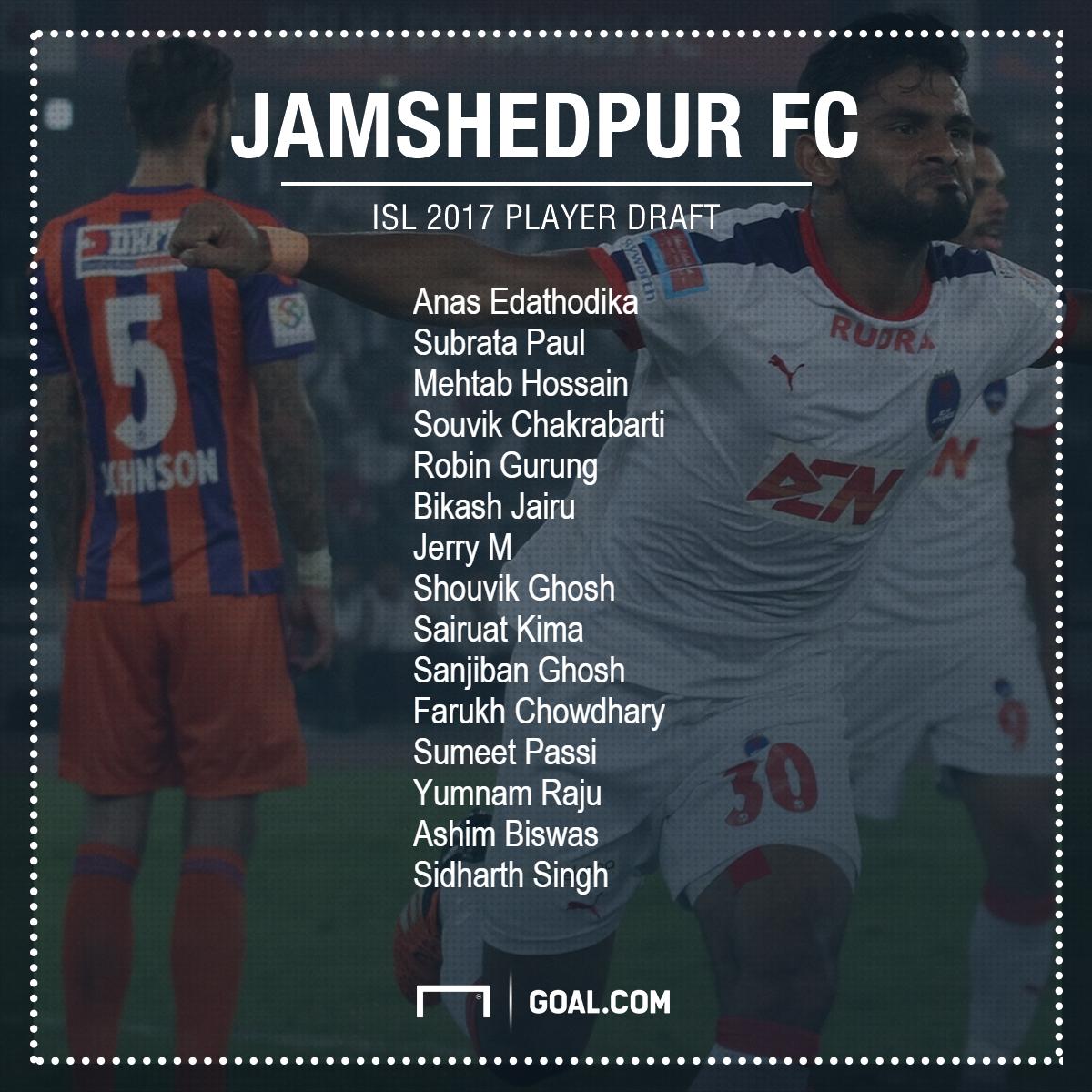 Jamshedpur FC ISL 2017 Player Draft