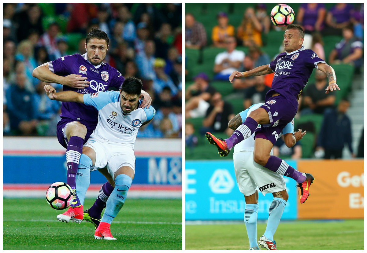 Dino Djulbic Lucian Goian Melbourne City v Perth Glory A-League 23042017