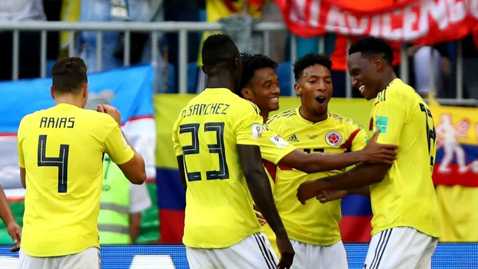 Colombia celebrate vs Senegal World Cup 2018