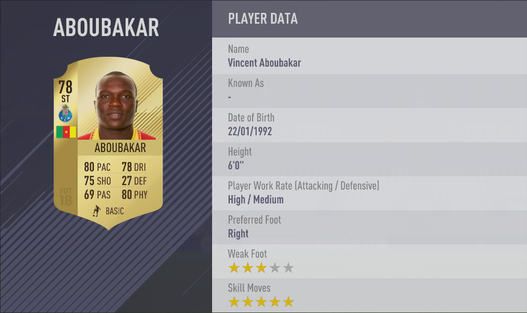 Vincent Aboubakar FIFA 18 Skill Players