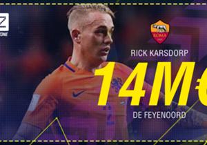 """<p><font color=""""#009966"""" size=""""3""""><b>Rick Karsdorp</b></font></p> <p><em>Défenseur l 22 ans </em></p> <p><span style=""""font-size:medium;""""><strong><em><font color=""""#009966""""><font size=""""3"""">Feyenoord </font> </font> </em> <span style=""""..."""