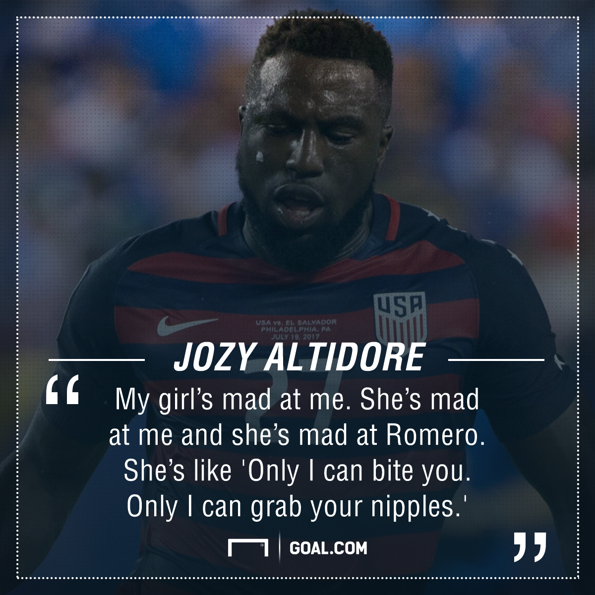 El Salvador player twists Jozy Altidore's nipple and bites his shoulder