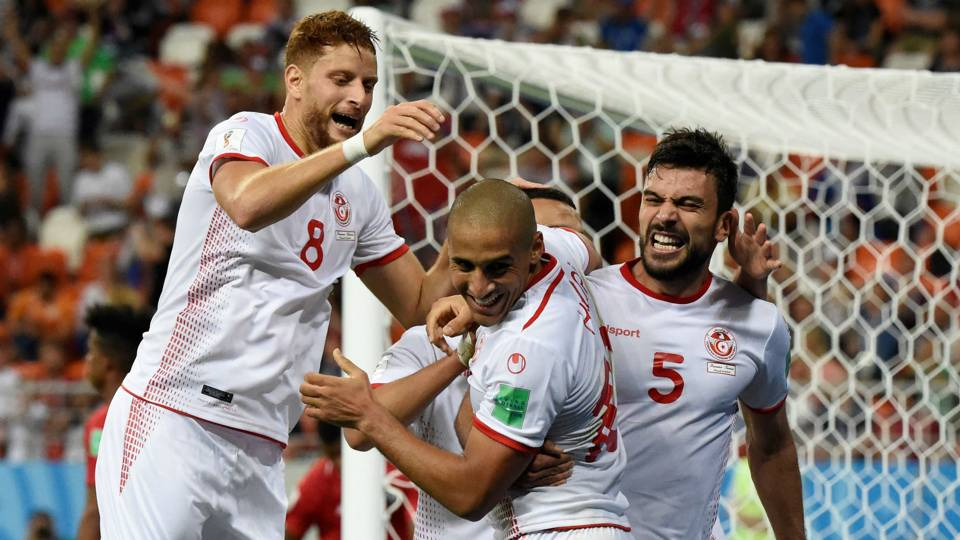 Tunisia celebrate goal World Cup 2018