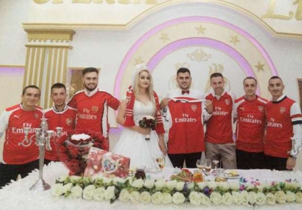 Kosovo Arsenal fan reveals wife's reaction to Gunners-themed wedding