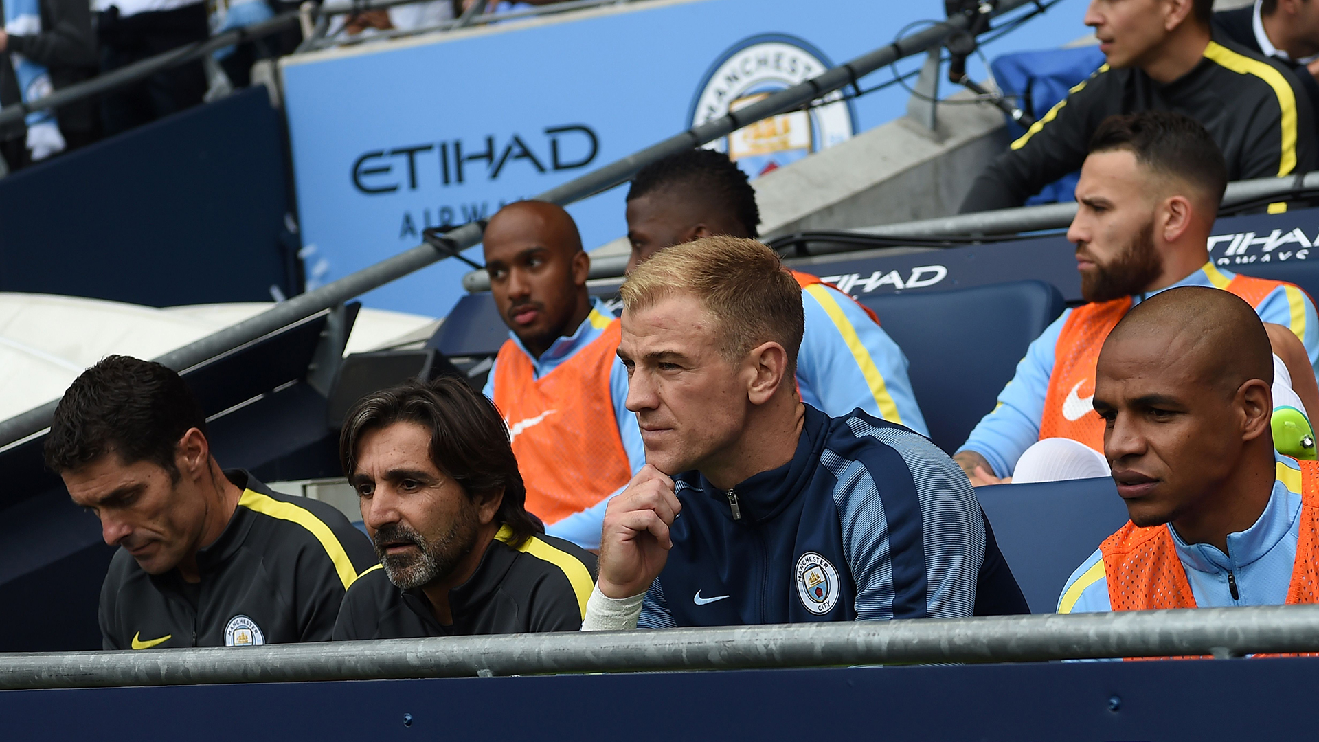 Joe Hart Manchester City bench