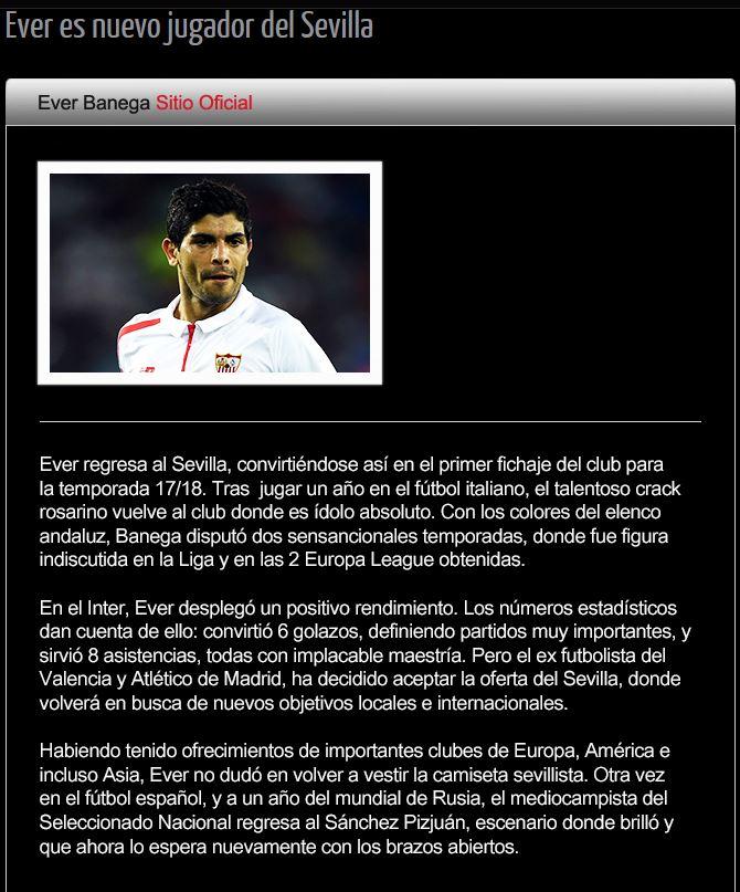 Ora è anche ufficiale: Inter, Banega torna al Siviglia