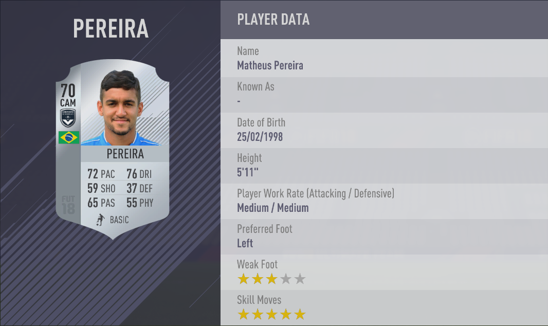 Matheus Pereira FIFA 18 Skill Players