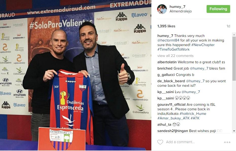 Iain Hume Instagram Post Extremadura