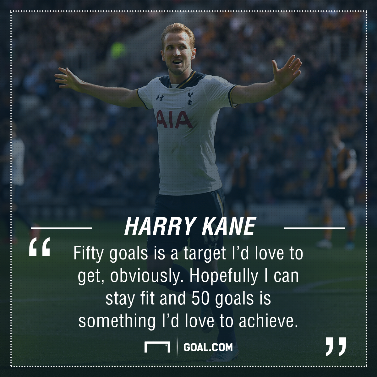 Tottenham striker Kane targeting 50 goals next season