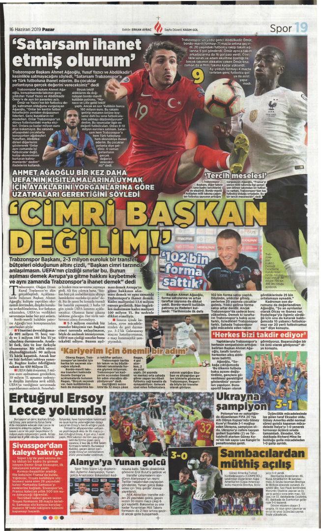 Spor gazetesi manşetleri (16 Haziran 2019)