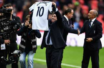 Watch out, Harry Kane! Diego Maradona receives Spurs' No. 10 shirt on Wembley trip