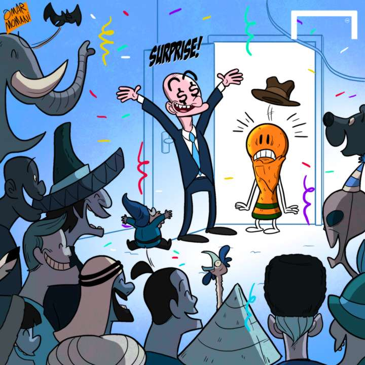 Cartoon World Cup surprise party