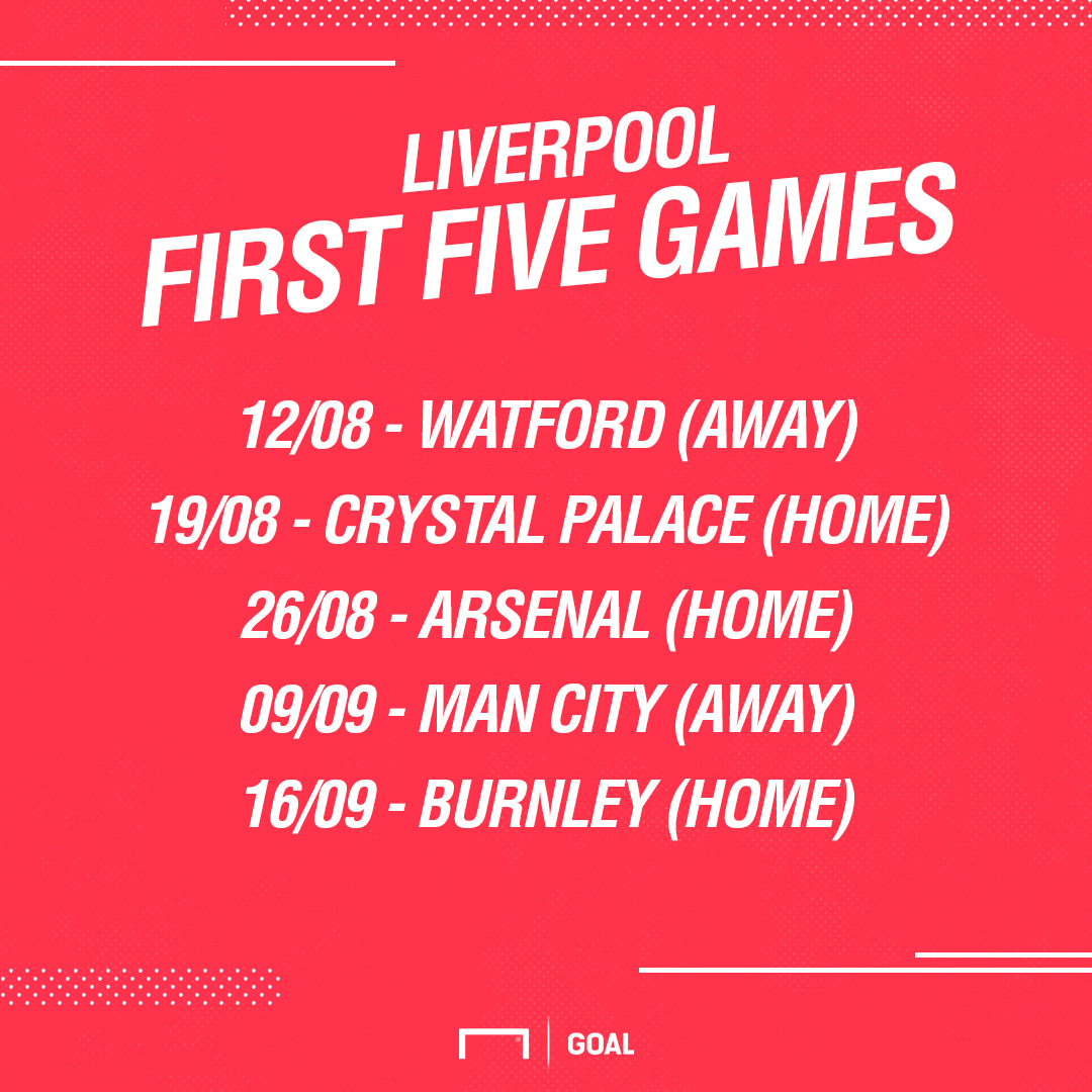 Liverpool first five fixtures