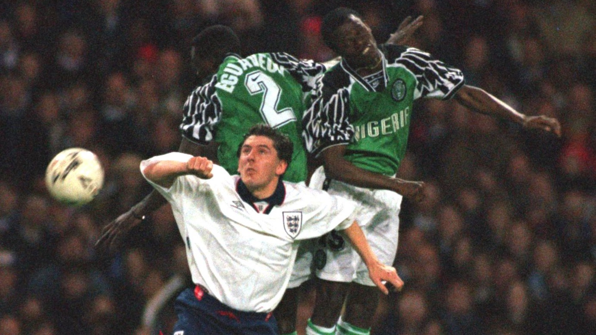 Peter Beardsley of England, MUTIU ADEPOJU AND AUSTIN EGUAVEON OF NIGERIA