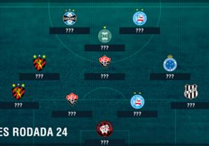 Infelizmente a 24ª rodada não foi boa para times nordestinos. Bahia, Sport e Vitória formam a base da equipe que tem os piores jogadores do final de semana. Veja o time completo a seguir