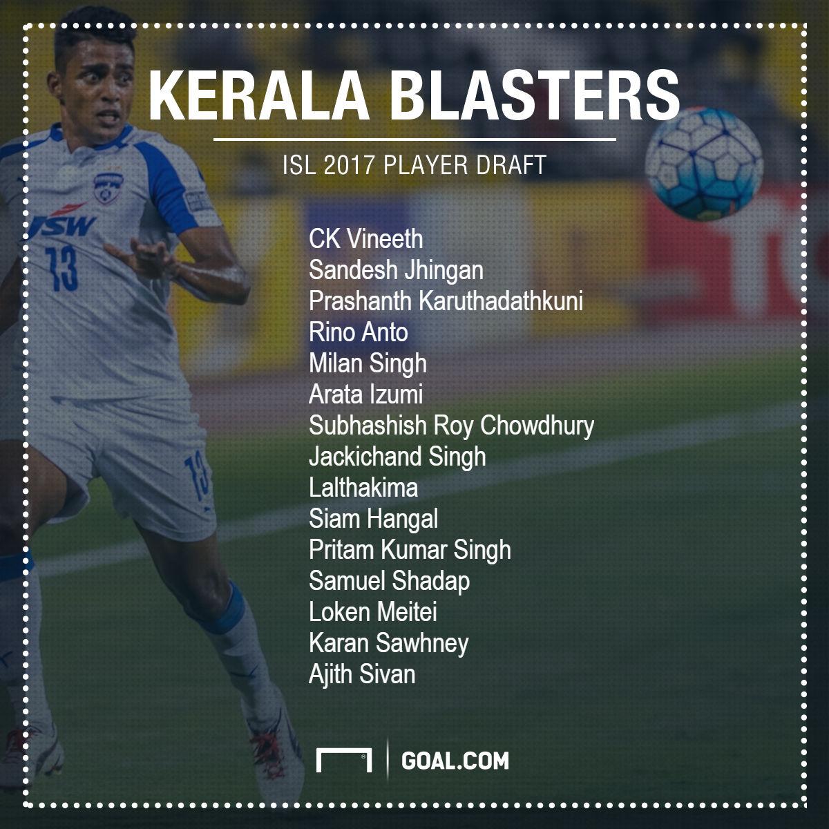 Kerala Blasters ISL 2017 Draft