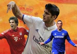 Direkrut Chelsea dari Real Madrid dengan tebusan €80 juta dari Real Madrid, Alvaro Morata kini menyandang status sebagai pesepakbola Spanyol termahal sepanjang masa. Siapa saja sepuluh bintang Negeri Matador berbanderol paling mewah?