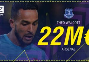 Theo Walcott - D'Arsenal à Everton - 22,5 millions d'euros - Contrat de 3 ans et demi.