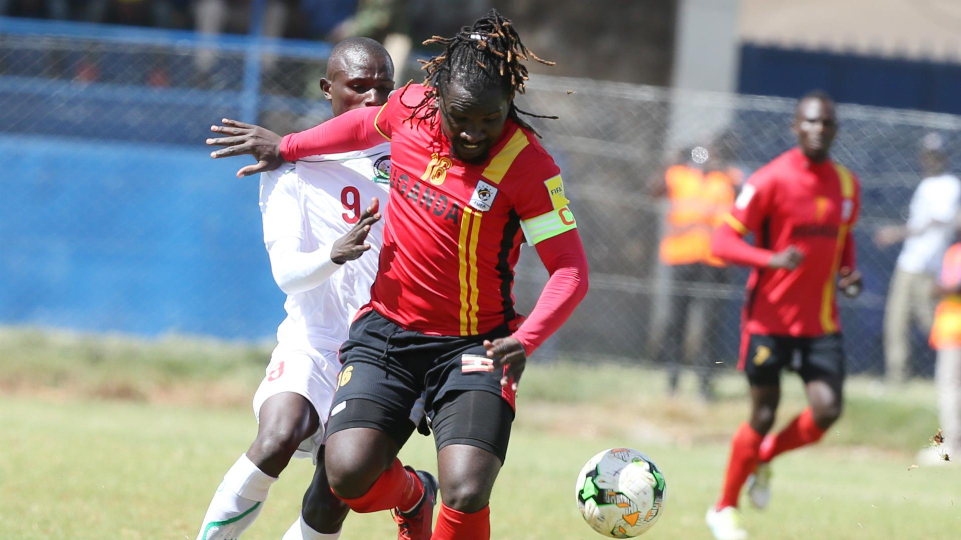 Hassan Wasswa of Uganda v Kenya Harambee Stars