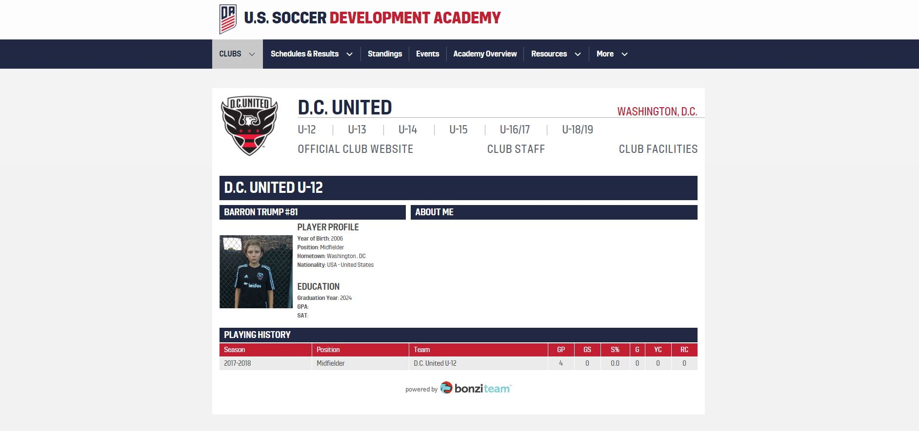 Barron Trump, DC United profile screenshot - EMBED ONLY