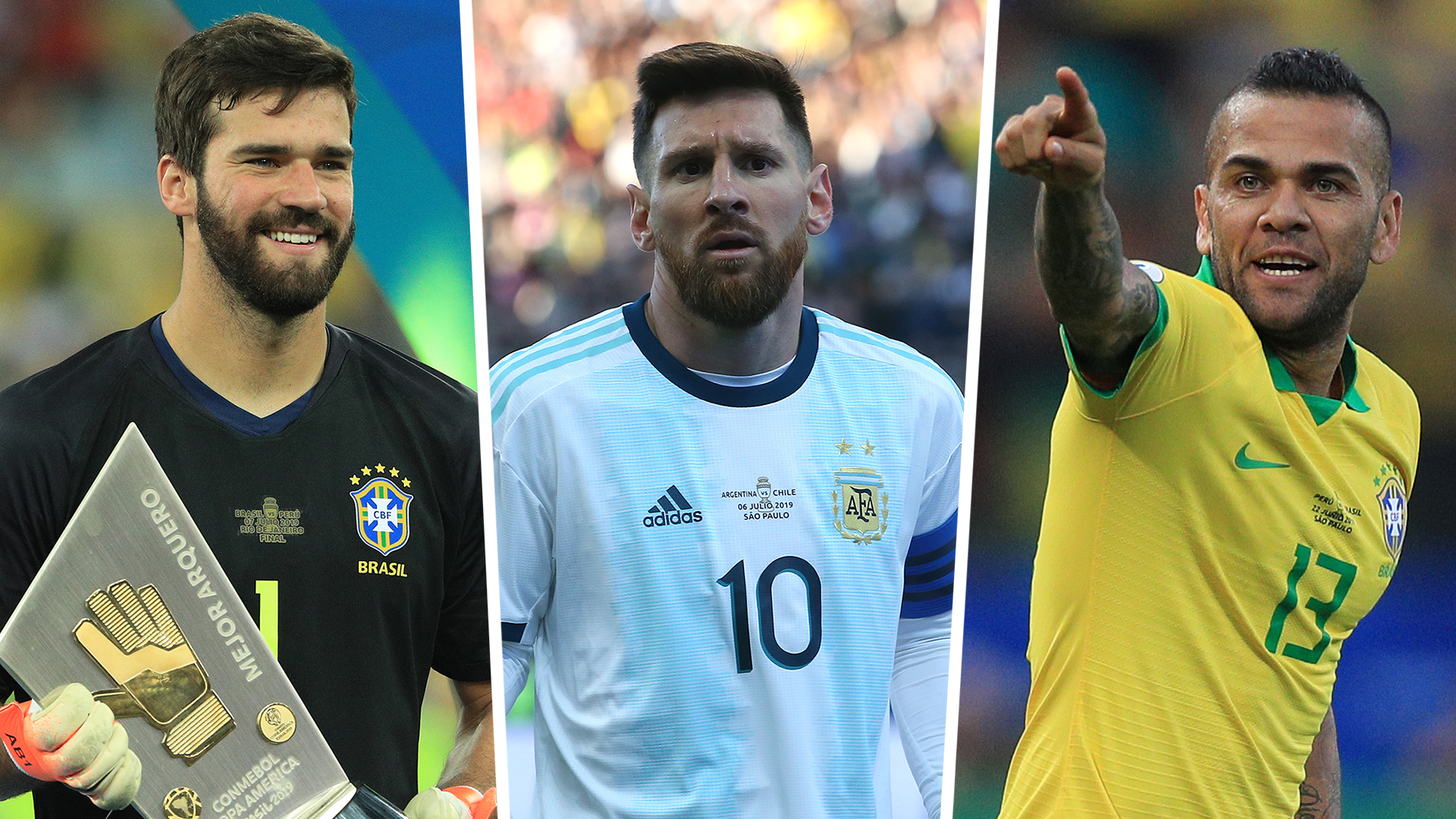 Messi missing as Alisson and Alves headline Copa America Team of the Tournament