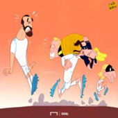 Cartoon Bale and Modric kidnap Kane