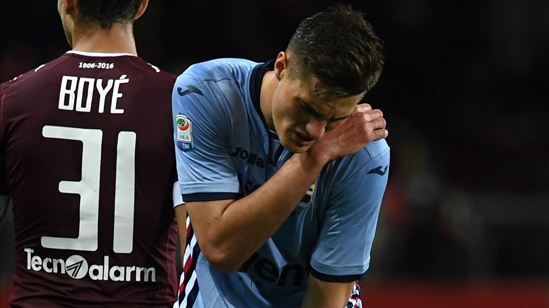 Patrik Schick injured Torino Sampdoria Serie A 29042017