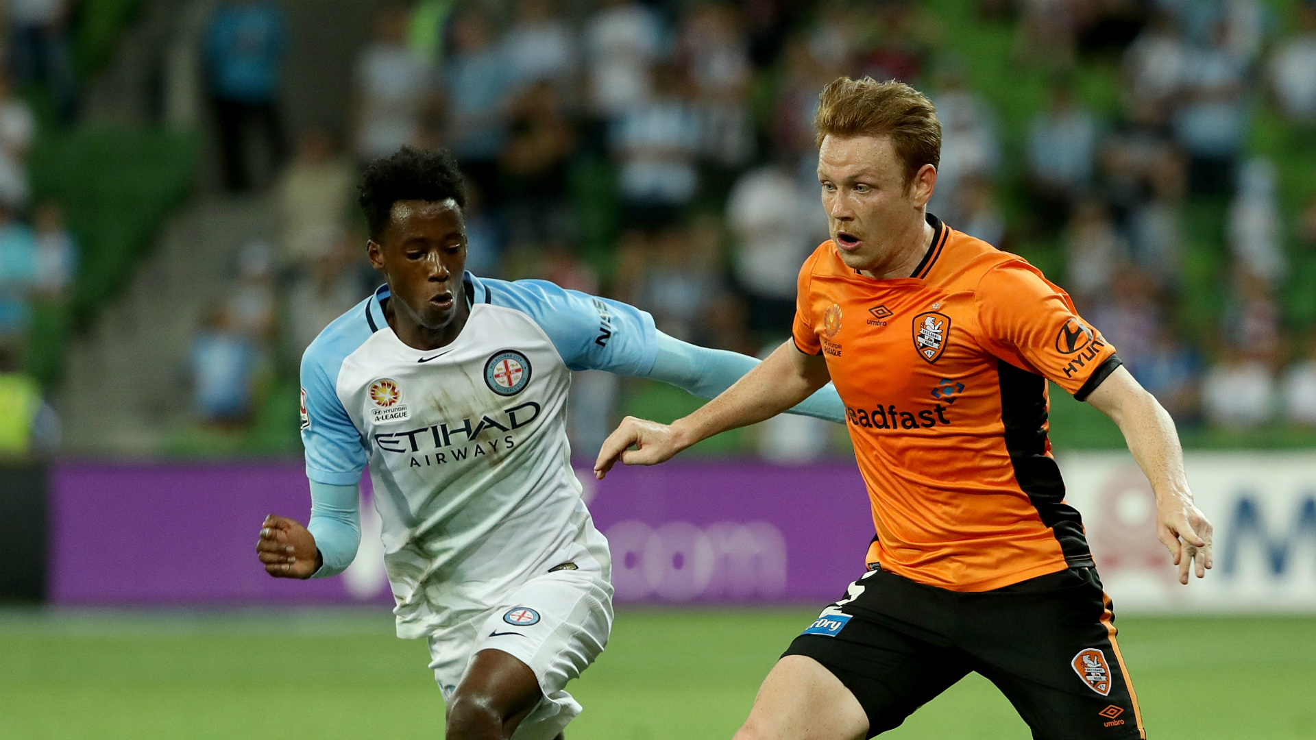 Bruce Kamau Corey Brown Melbourne City v Brisbane Roar A-League 11022017
