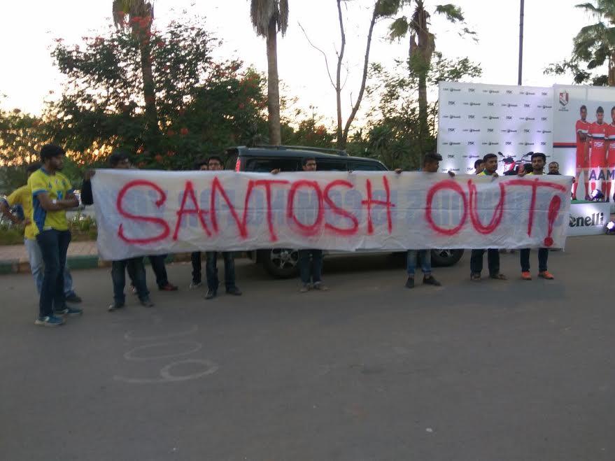 Santosh Out banner at Balewadi