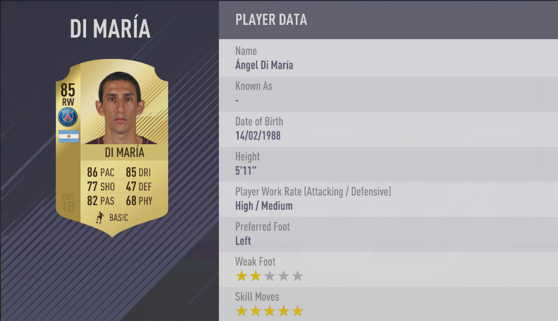 Angel Di Maria FIFA 18 Skill Players
