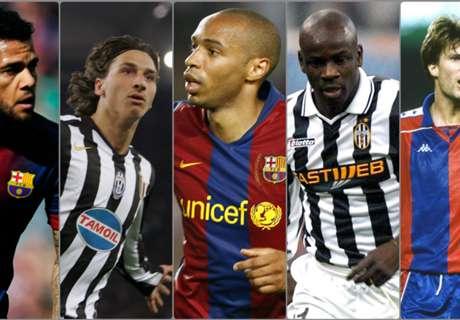 Dani Alves, Ibrahimovic et les joueurs qui ont évolué au Barça et à la Juve