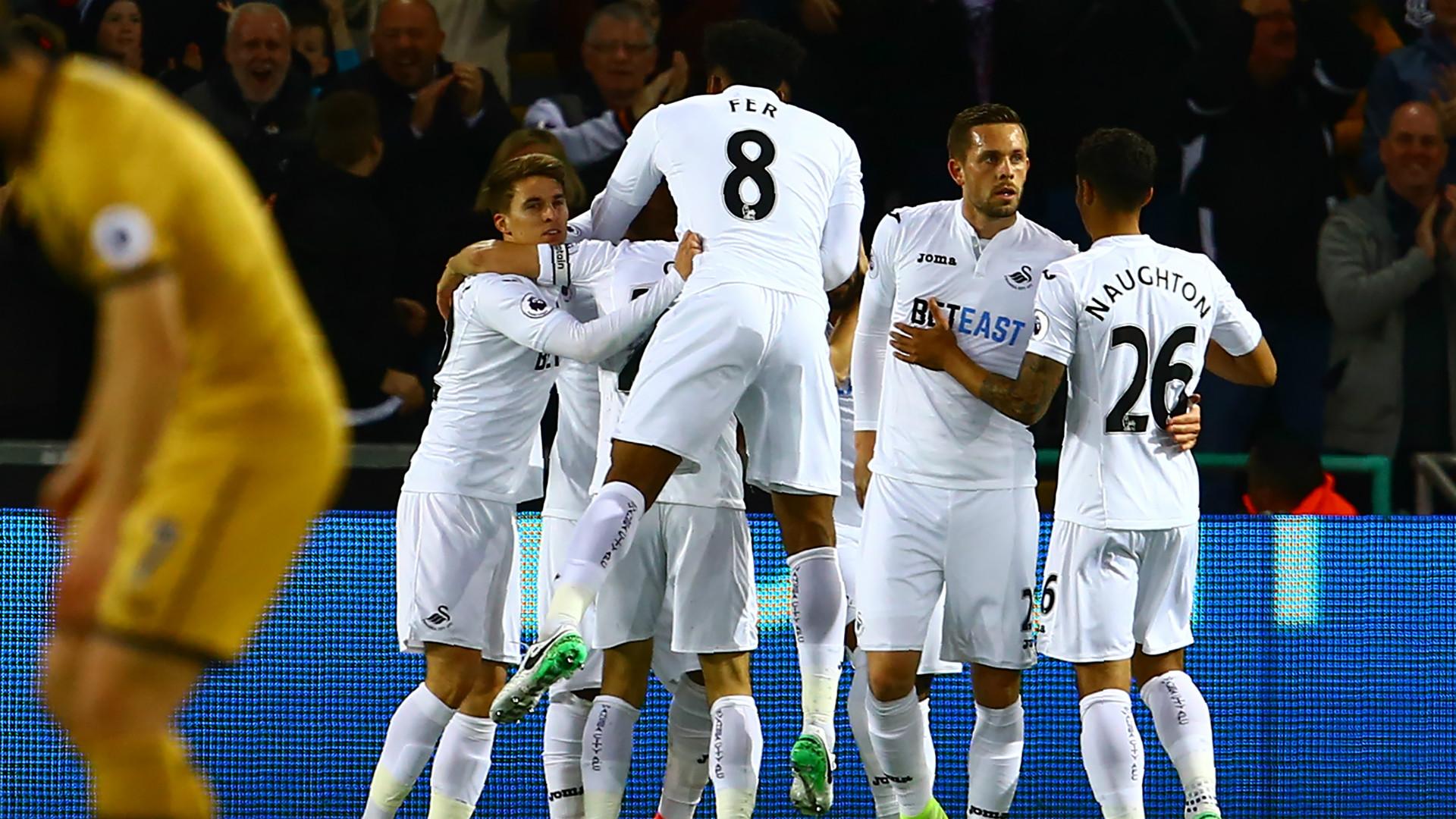 Swansea City celebrate