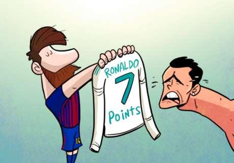 KARTUN: Jarak Barcelona & Real Madrid