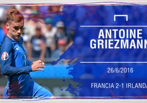 ANTOINE GRIEZMANN | El delantero se echó a Francia a la espalda cuando el partido ante Irlanda pintaba complicado y remontó con un doblete para meter a su selección en cuartos.