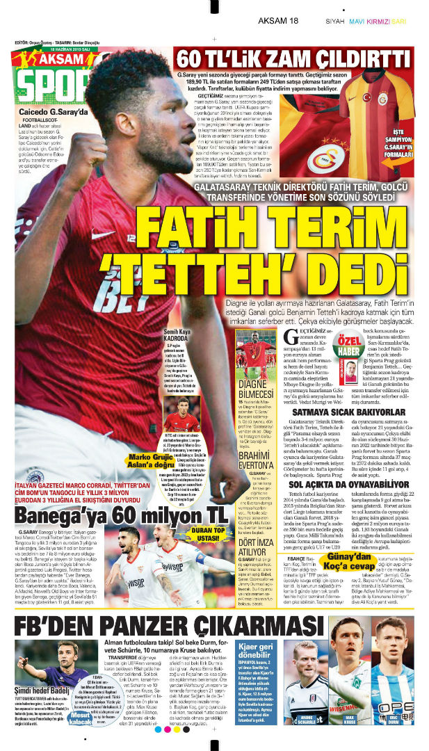 Spor gazetesi manşetleri (18 Haziran 2019)
