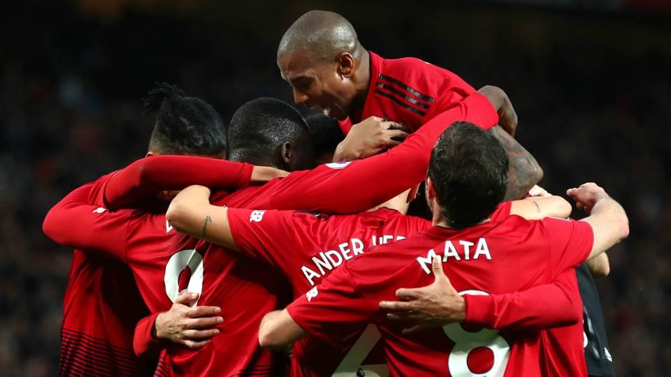Man Utd celebrating 2018
