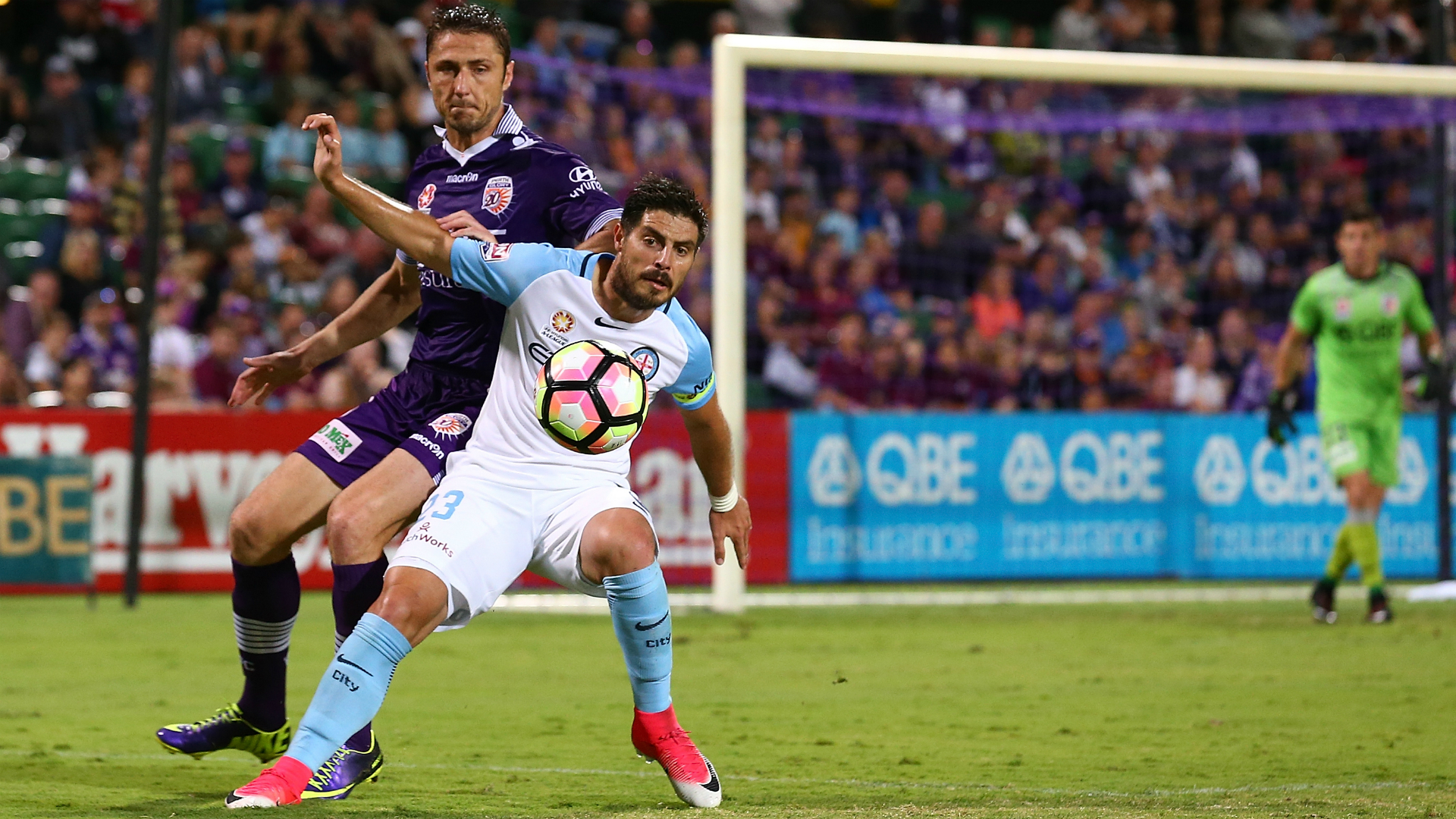 Bruno Fornaroli Dino Djulbic Perth Glory v Melbourne City A-League 16042017