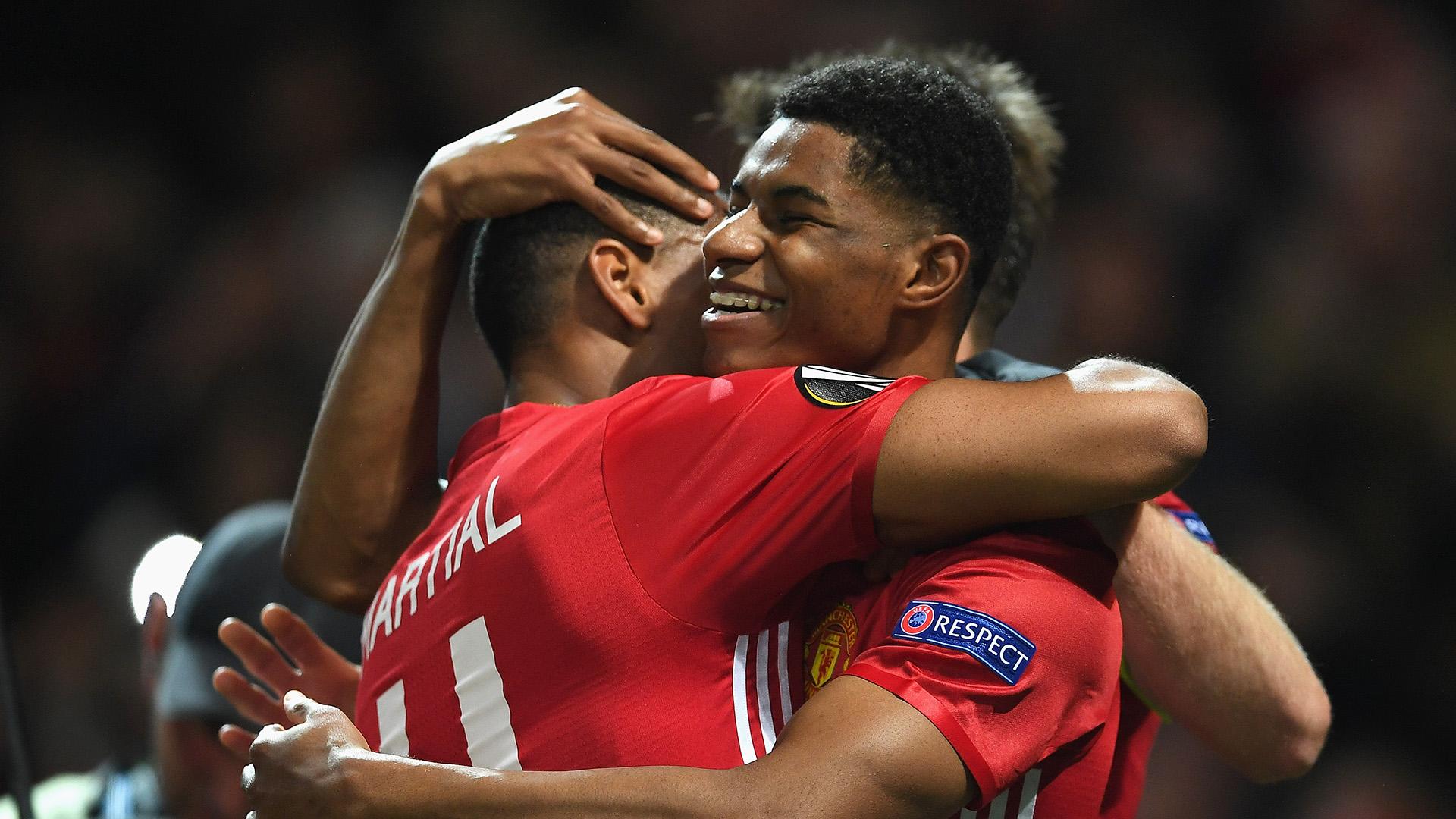 Rashford celebrates with Martial