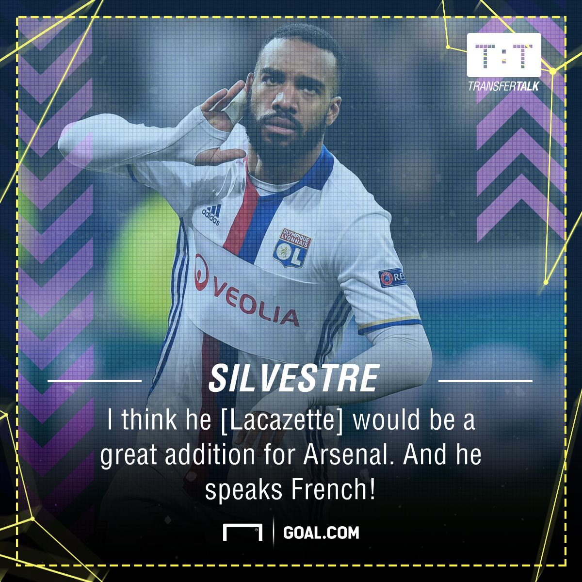 Alexandre Lacazette Mikael Silvestre Arsenal
