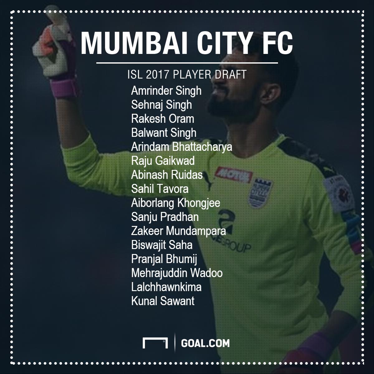 Mumbai City ISL 2017 draft