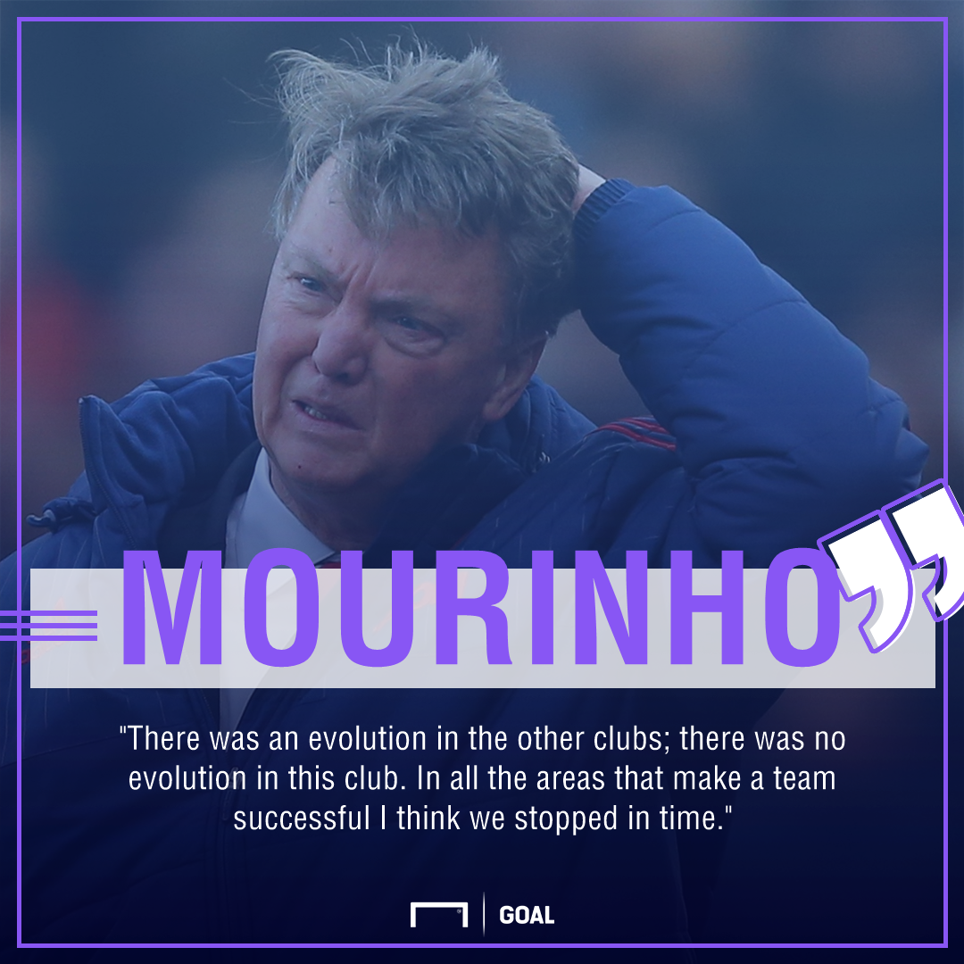 Jose Mourinho Van Gaal Moyes Manchester United no evolution