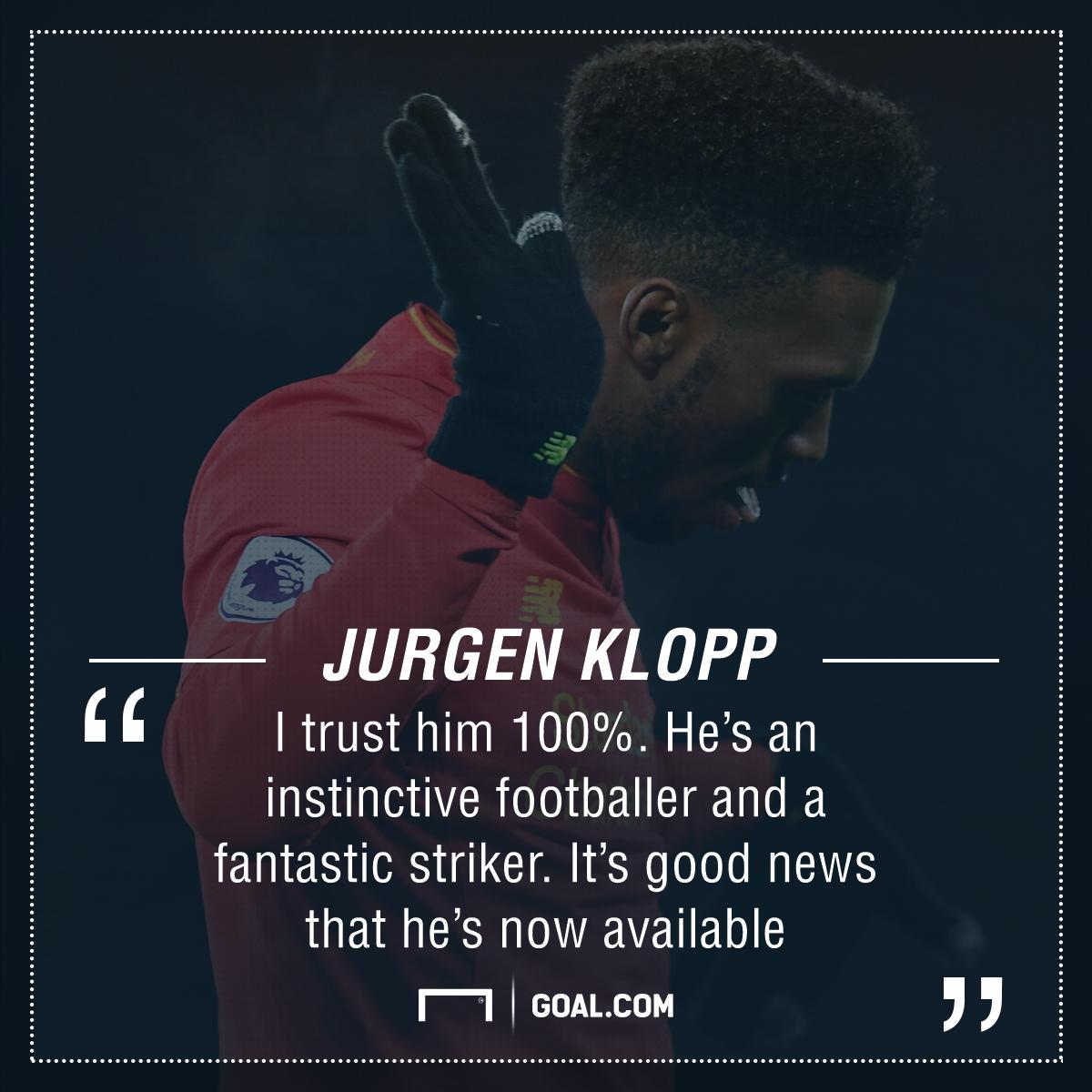 Daniel Sturridge ready for Liverpool starting spot, says Jurgen Klopp