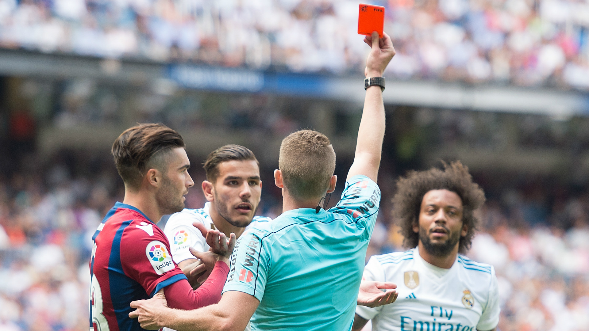 Real Madrid news Marcelo sent off for kicking out at Levante