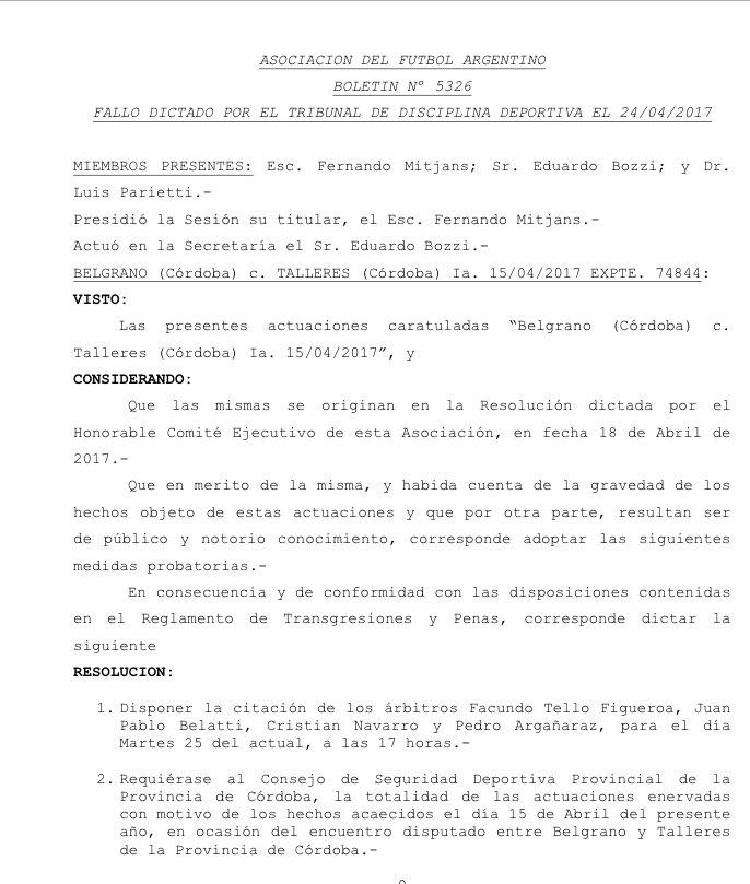 Tribunal de Disciplina de AFA Sancion Belgrano 24042017