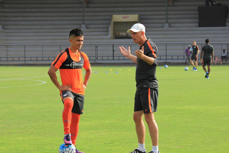 Indian international Sunil Chhetri with gaffer Stephen Constantine