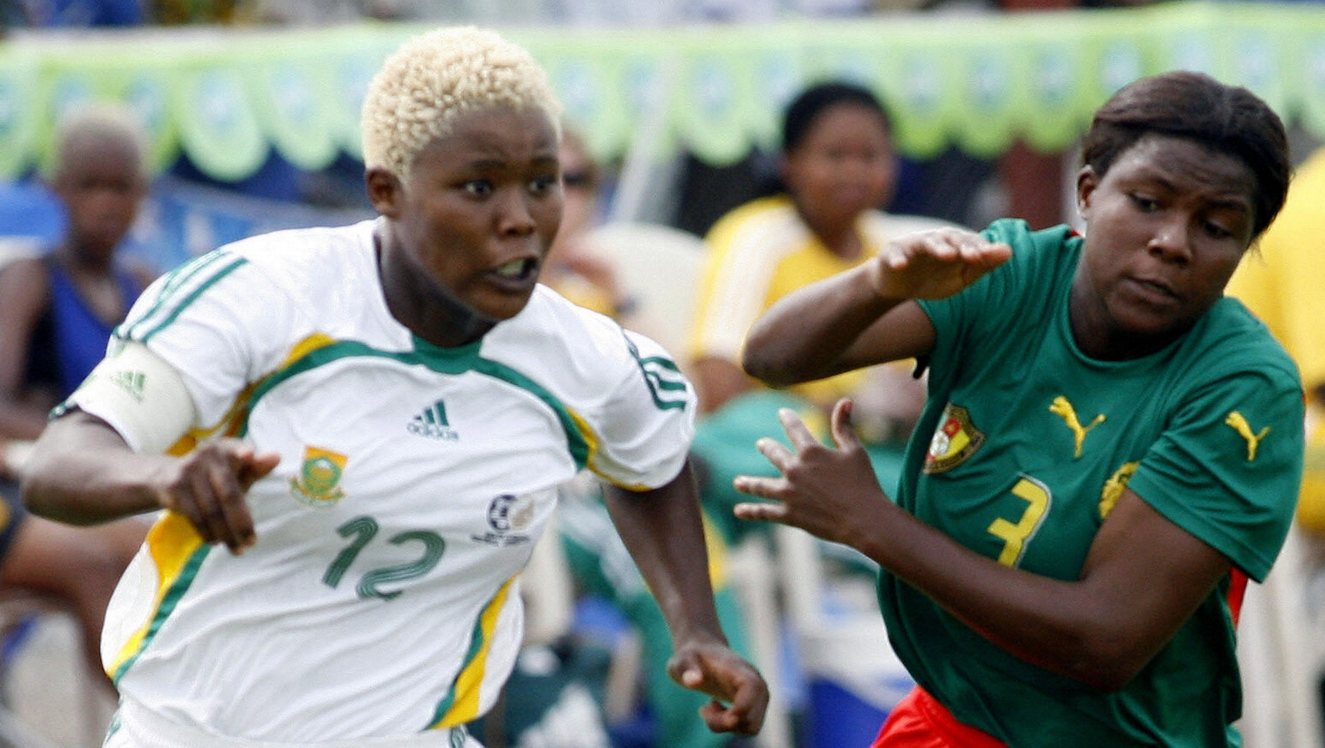 Portia Modise of South Africa, Cameroon's Crystelle Ngnipoho