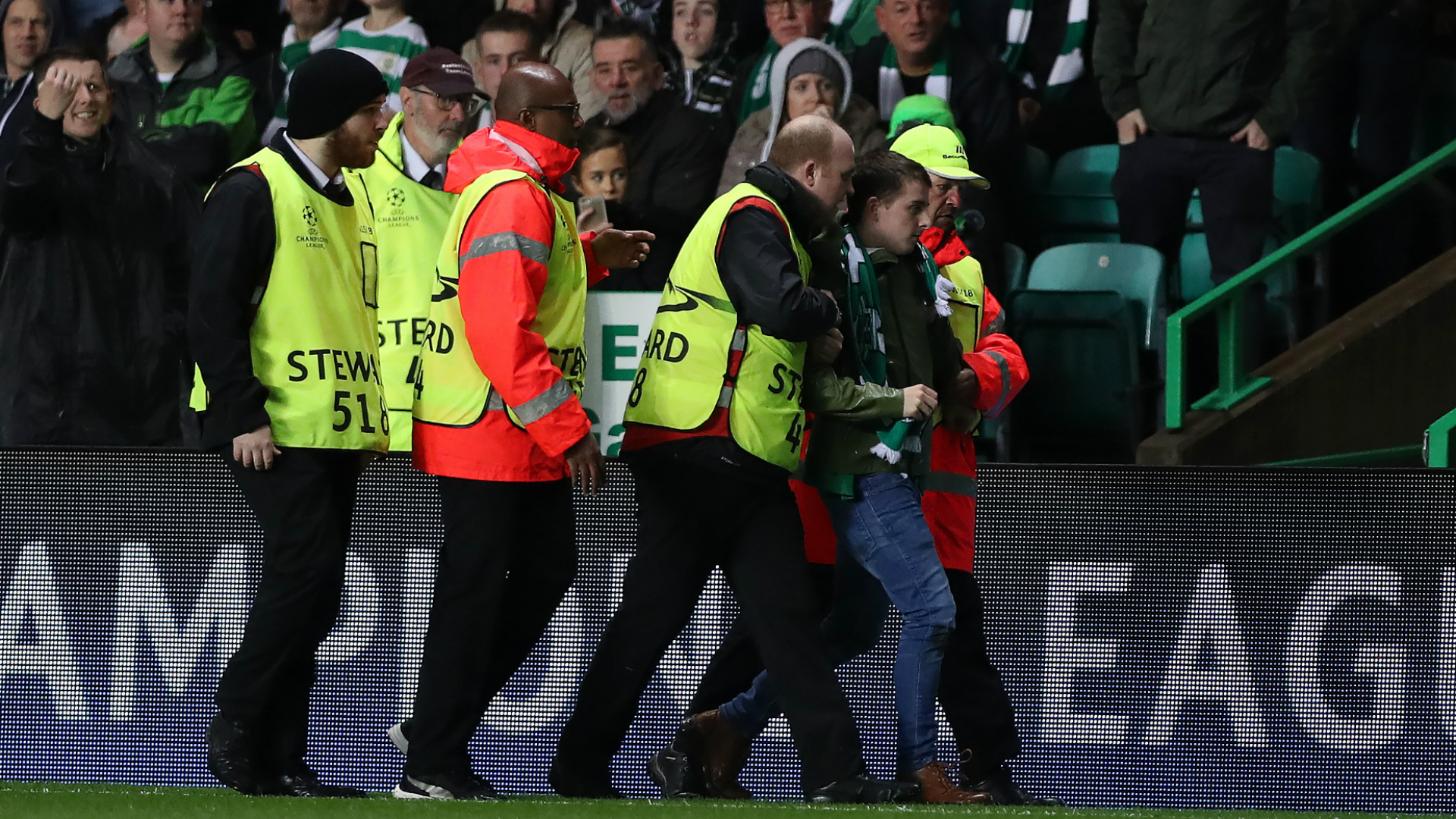 Celtic PSG pitch invader