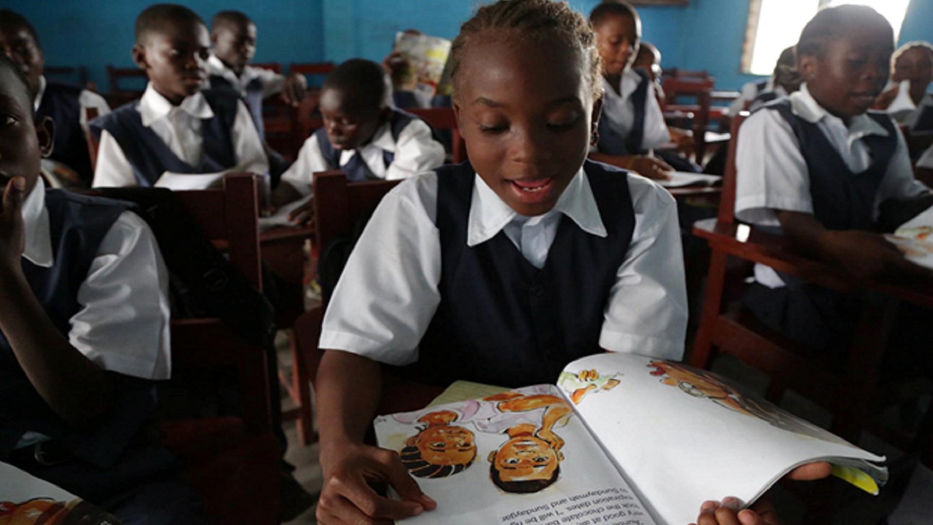 Monrovia 3rd grader Christina Woart reads