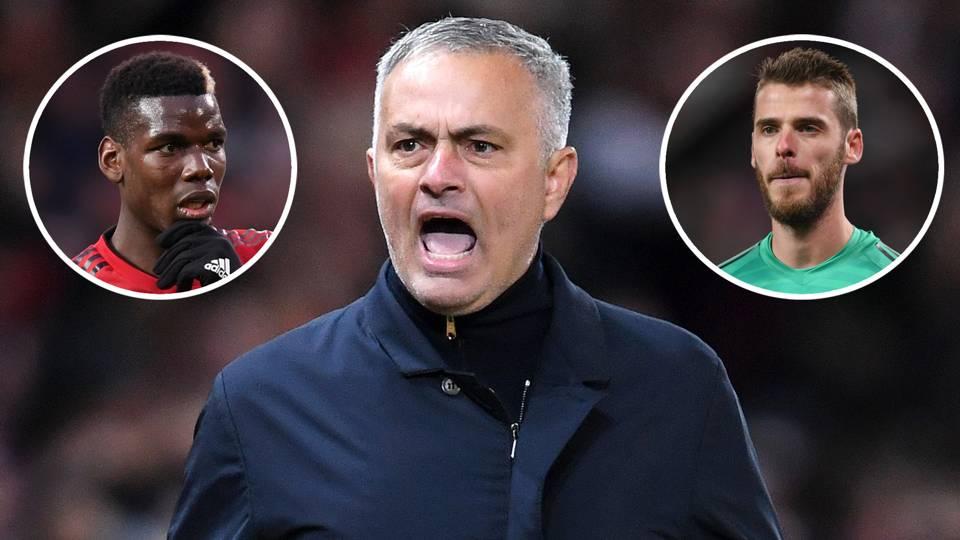 Jose Mourinho Paul Pogba David De Gea Man Utd 2018-19